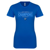Next Level Ladies SoftStyle Junior Fitted Royal Tee-2018 Womens Indoor Track and Field Champions - Box