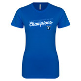 Next Level Ladies SoftStyle Junior Fitted Royal Tee-2018 Womens Indoor Track and Field Champions - Script