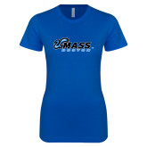 Next Level Ladies SoftStyle Junior Fitted Royal Tee-UMass Boston Horizontal