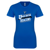 Next Level Ladies SoftStyle Junior Fitted Royal Tee-UMass Boston Beacons Hockey Slanted