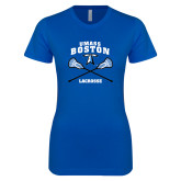 Next Level Ladies SoftStyle Junior Fitted Royal Tee-UMass Boston Lacrosse Crossed Sticks