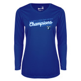 Ladies Syntrel Performance Royal Longsleeve Shirt-2018 Womens Indoor Track and Field Champions - Script