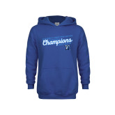 Youth Royal Fleece Hoodie-2018 Womens Indoor Track and Field Champions - Script