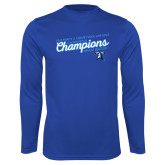 Performance Royal Longsleeve Shirt-2018 Womens Indoor Track and Field Champions - Script