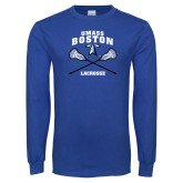 Royal Long Sleeve T Shirt-UMass Boston Lacrosse Crossed Sticks