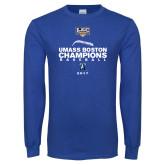 Royal Long Sleeve T Shirt-Umass Boston Baseball Champs