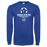Royal Long Sleeve T Shirt-Umass Boston 2012 Womens Soccer Champs
