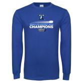 Royal Long Sleeve T Shirt-Umass Boston 2016 Mens Ice Hockey Champs