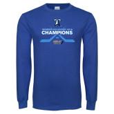 Royal Long Sleeve T Shirt-Umass Boston 2016 Woens Ice Hockey Champs