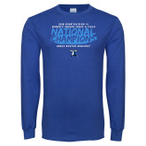 Royal Long Sleeve T Shirt-2018 Womens Indoor Track and Field Champions - Brush