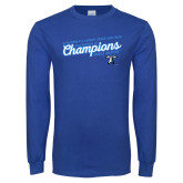 Royal Long Sleeve T Shirt-2018 Womens Indoor Track and Field Champions - Script