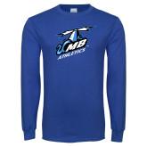 Royal Long Sleeve T Shirt-Italicized UMass Boston Athletics