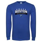 Royal Long Sleeve T Shirt-Arched UMass Boston Beacons