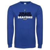 Royal Long Sleeve T Shirt-UMass Boston Beacons Hockey Distressed