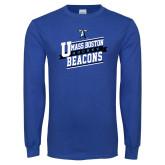 Royal Long Sleeve T Shirt-UMass Boston Beacons Hockey Slanted