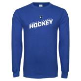 Royal Long Sleeve T Shirt-UMass Boston Beacons Hockey Slashed