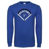 Royal Long Sleeve T Shirt-Beacons Baseball Stencil Diamond