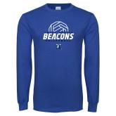 Royal Long Sleeve T Shirt-Beacons Volleyball Abstract Ball