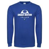 Royal Long Sleeve T Shirt-UMass Boston Soccer Stacked