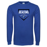 Royal Long Sleeve T Shirt-Beacons Softball Plate