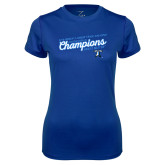 Ladies Syntrel Performance Royal Tee-2018 Womens Indoor Track and Field Champions - Script