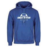Royal Fleece Hoodie-UMass Boston Soccer Stacked