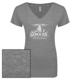 ENZA Ladies Graphite Melange V Neck Tee-Primary Logo White Soft Glitter