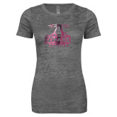 Next Level Ladies Junior Fit Dark Grey Burnout Tee-Primary Logo Foil