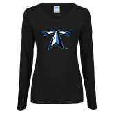 Ladies Black Long Sleeve V Neck Tee-Lighthouse