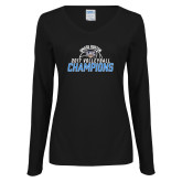 Ladies Black Long Sleeve V Neck Tee-2017 Volleyball Champions