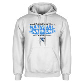 White Fleece Hoodie-2018 Womens Indoor Track and Field Champions - Brush