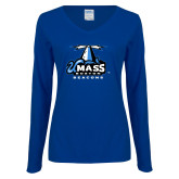 Ladies Royal Long Sleeve V Neck Tee-Primary Logo