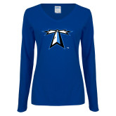 Ladies Royal Long Sleeve V Neck Tee-Lighthouse