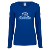 Ladies Royal Long Sleeve V Neck Tee-2017 Volleyball Champions