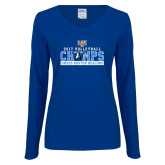 Ladies Royal Long Sleeve V Neck Tee-2017 Volleyball Champs