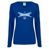 Ladies Royal Long Sleeve V Neck Tee-Umass Boston Softball Champs