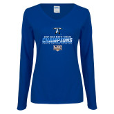 Ladies Royal Long Sleeve V Neck Tee-Umass Boston 2017 2013 Mens Tennis Champs