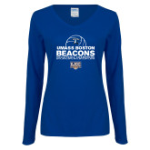Ladies Royal Long Sleeve V Neck Tee-Umass Boston 2017, 2016, 2015, 2013, 2012, 2011, 2010, Volleyball Champs