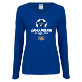 Ladies Royal Long Sleeve V Neck Tee-Umass Boston 2012 Womens Soccer Champs