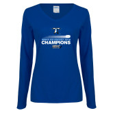 Ladies Royal Long Sleeve V Neck Tee-Umass Boston 2016 Mens Ice Hockey Champs