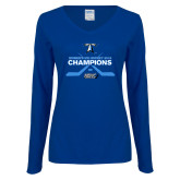 Ladies Royal Long Sleeve V Neck Tee-Umass Boston 2016 Woens Ice Hockey Champs
