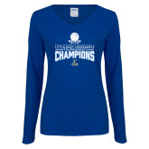 Ladies Royal Long Sleeve V Neck T Shirt-2018 Womens Basketball Champions