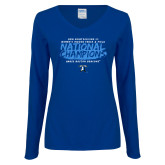 Ladies Royal Long Sleeve V Neck Tee-2018 Womens Indoor Track and Field Champions - Brush