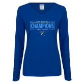 Ladies Royal Long Sleeve V Neck Tee-2018 Womens Indoor Track and Field Champions - Box