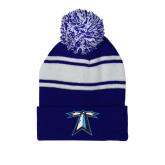 Royal/White Two Tone Knit Pom Beanie with Cuff-Lighthouse