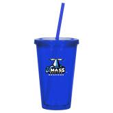 Madison Double Wall Blue Tumbler w/Straw 16oz-Primary Logo