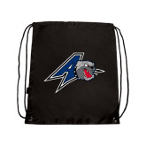 Nylon Black Drawstring Backpack-A w/ Bulldog Head