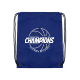 Nylon Royal Drawstring Backpack-Mens Basketball Champions with Ball