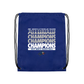 Nylon Royal Drawstring Backpack-Mens Basketball Champions Stacked