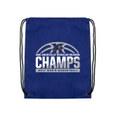 Nylon Royal Drawstring Backpack-Mens Basketball Champions Half Ball